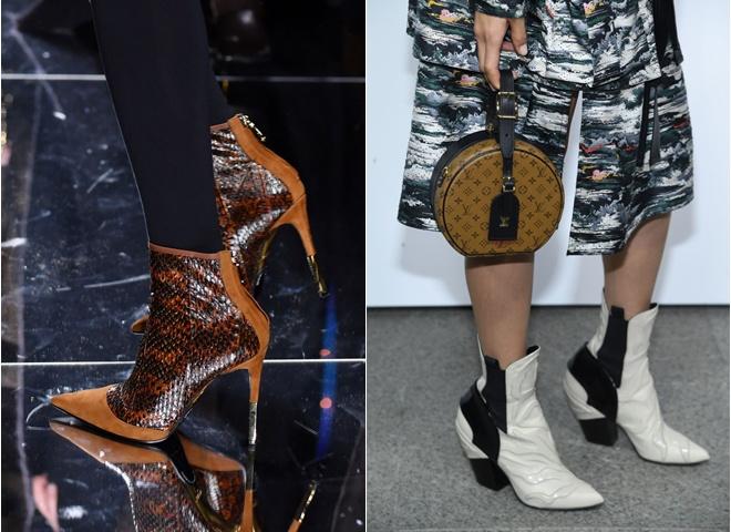 Модная обувь на осень: ботильоны с острым носком