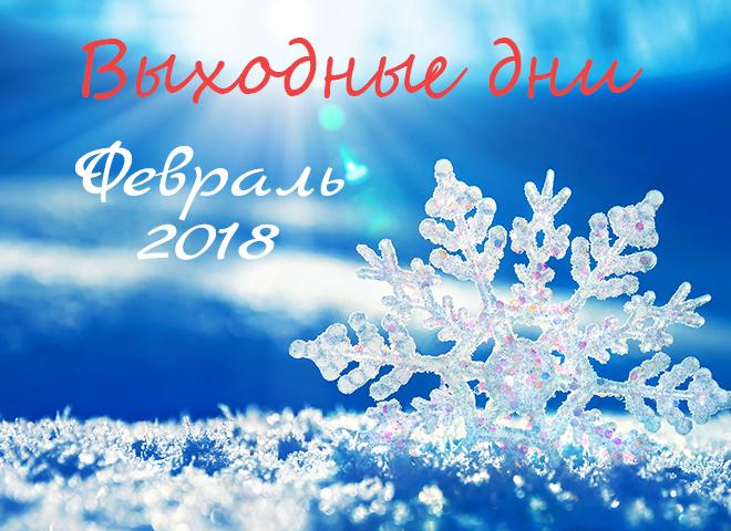 Календарь выходных в феврале 2018