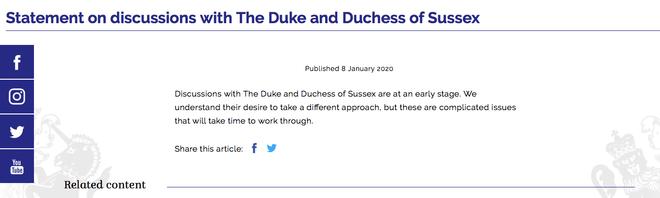 Реакція Єлизавети II на рішення принца Гаррі та Меган Маркл скласти королівські повноваження