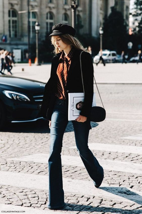 Как носить джинсы клеш