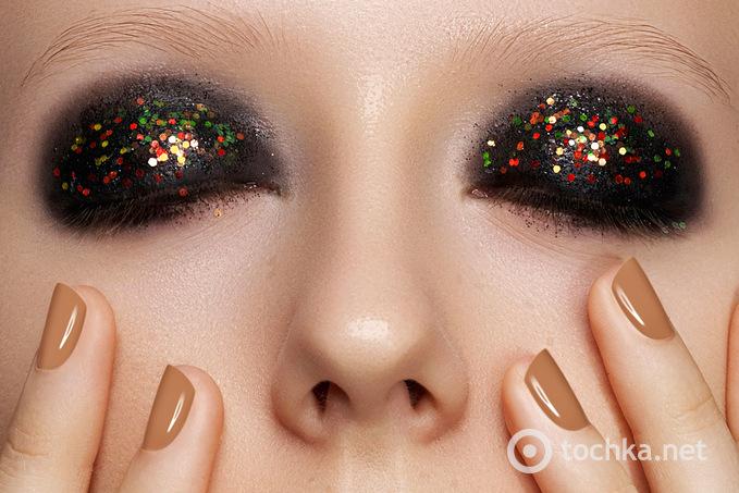 Новогодний блестящий макияж