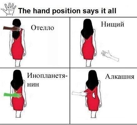 Положение рук говорит само за себя
