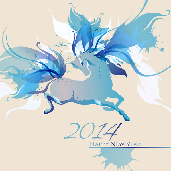 Нежные открытки на Новый год лошади 2014
