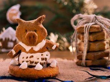 Имбирное печенье на Новый год Свиньи 2019
