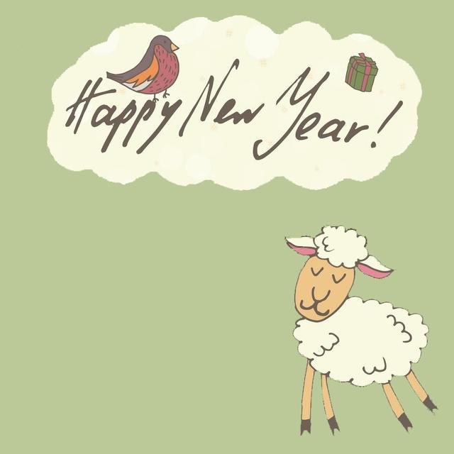 Милая открытка на год овцы 2015