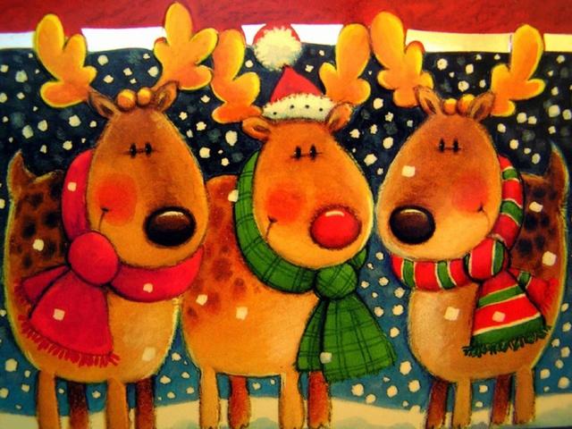 Картинки с Рождеством с оленями