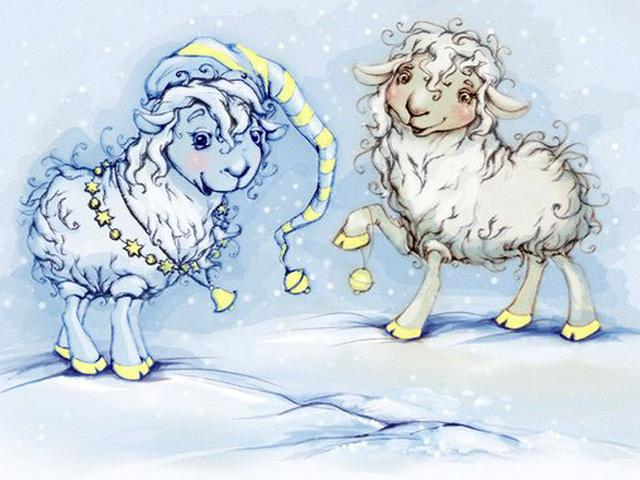 Овцы на открытках, размер евроформат