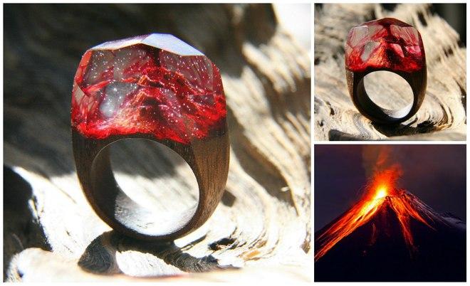 Кольца с миниаютюрными мирами от GreenWood