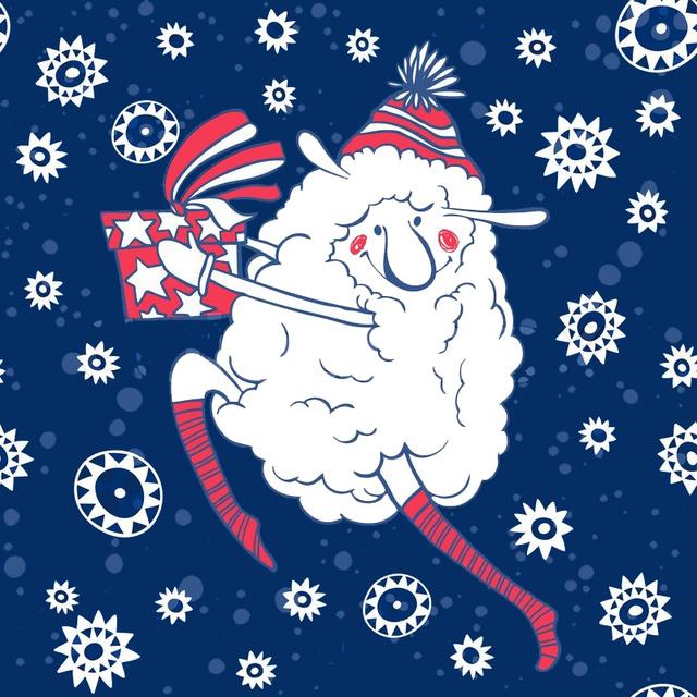 Глаумрная открытка с Новым годом овцы 2015