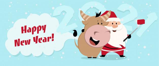 Позитивные открытки на Новый год быка 2021