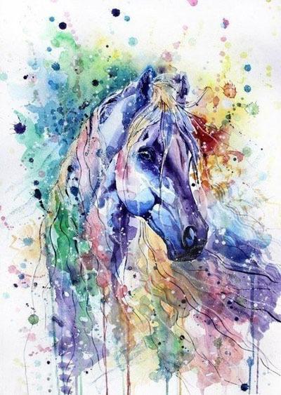 Красивые лошади акварелью