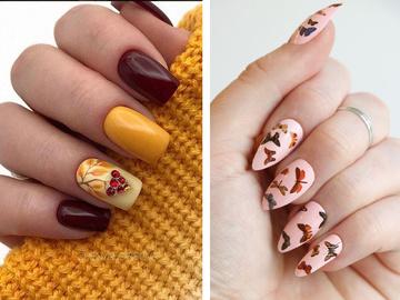 Модный тематический маникюр на осень с листочками