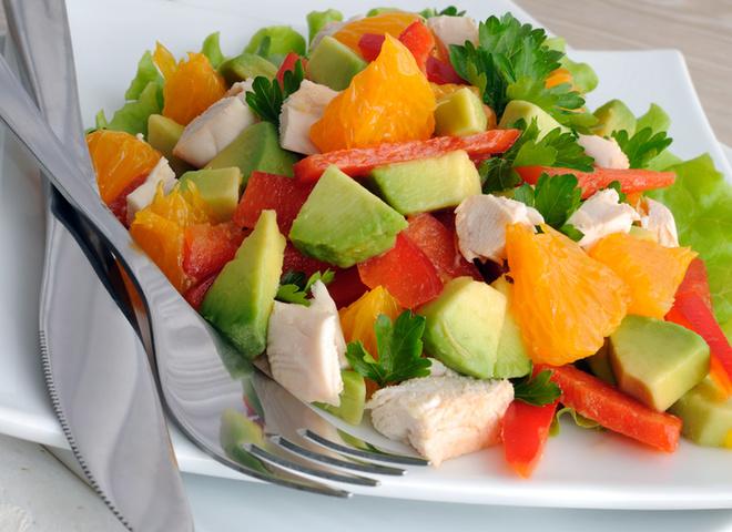 Салат з куркою, овочі, курка, олія