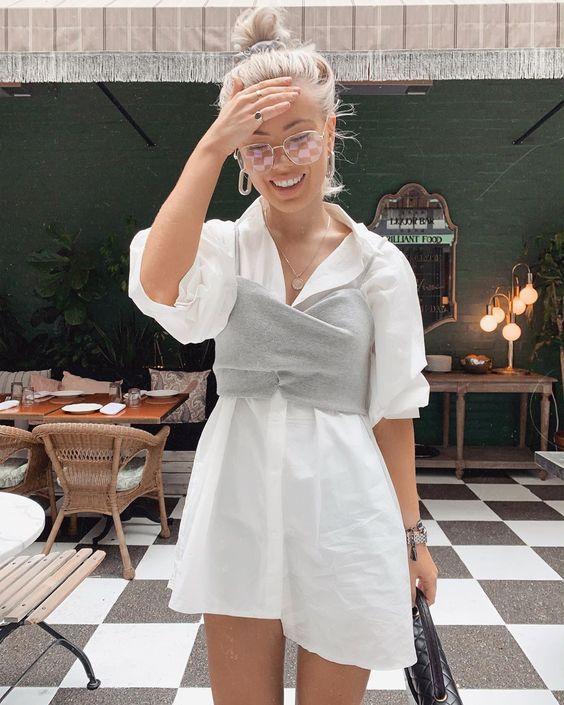 Кажется, дождь собирается: как носить топы поверх рубашек и платьев