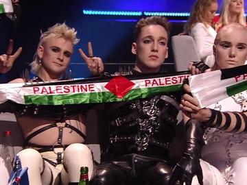Hatari c флагом Палестины в финале Евровидения-2019