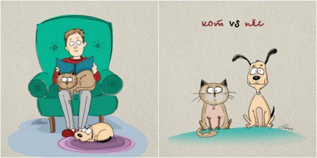 Комикс про жизнь котов и собак