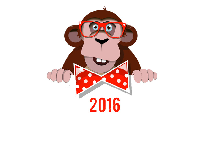 Открытка с 2016 год обезьяны