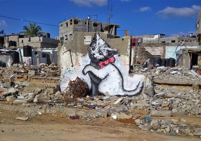 Стріт-арт зі змістом від Бенксі: нові роботи в секторі Газа