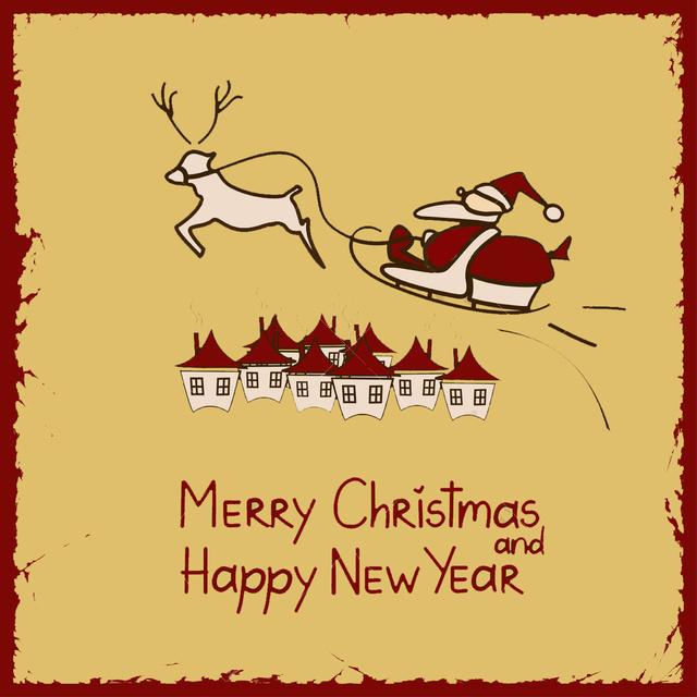 Винтажная открытка с Рождеством и Новым годом 2015