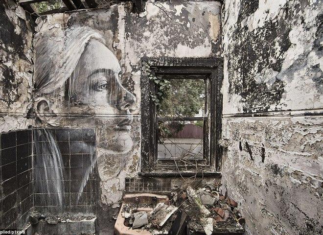 """""""Пусте"""": художник малює жіночі портрети на покинутих будівлях"""