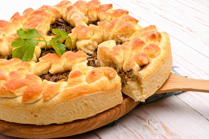 Постный пирог с грибами