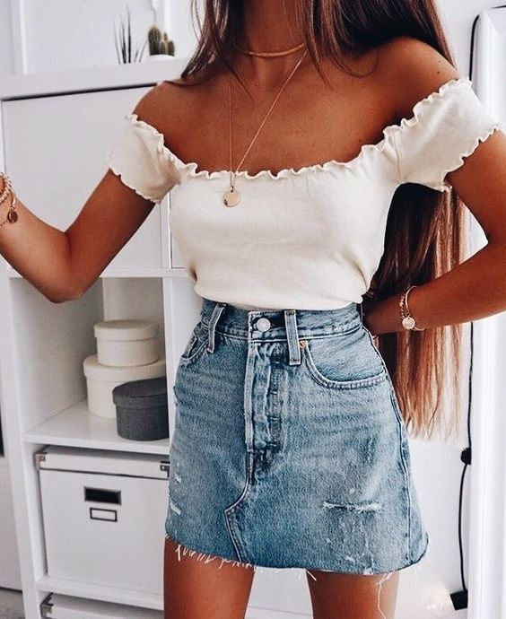 Джинсовая юбка летом