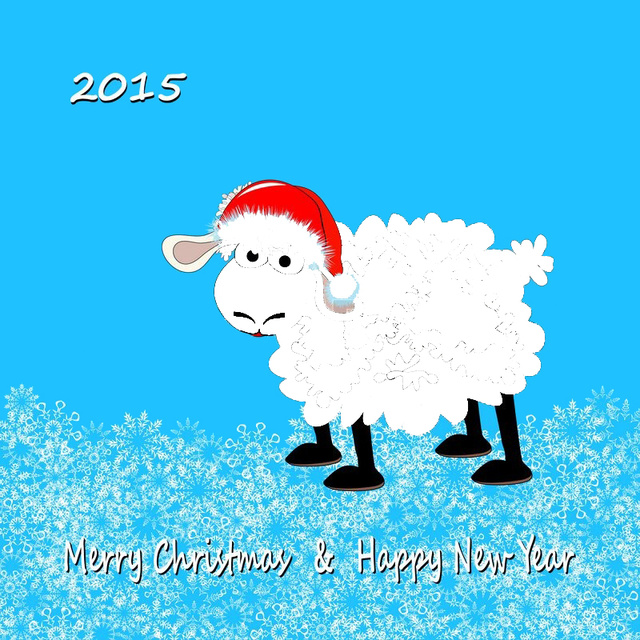 Милая открыточка на Новый год овцы 2015
