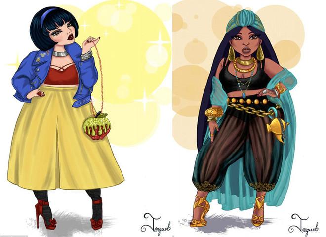 Бодипозитив: художница изобразила диснеевских принцесс в виде гламурных толстушек