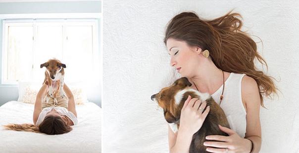 Новорожденная фотосессия с собачкой