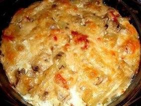 Запеканка из картофеля с шампиньонами и курицей