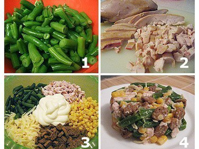 Салат из копченой курицы и фасоли с