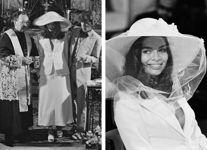 Бьянка Джаггер в свадебном наряде