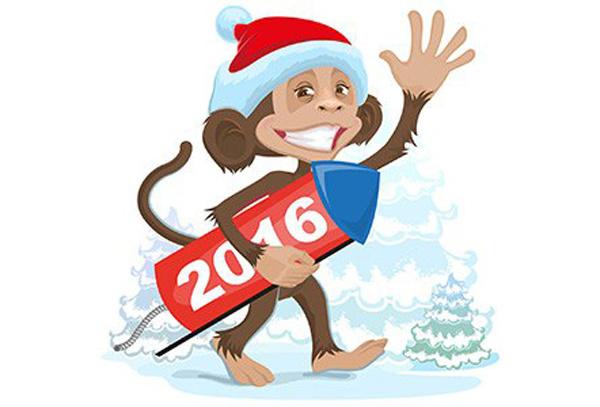 Детские открытки к Новому году обезьяны