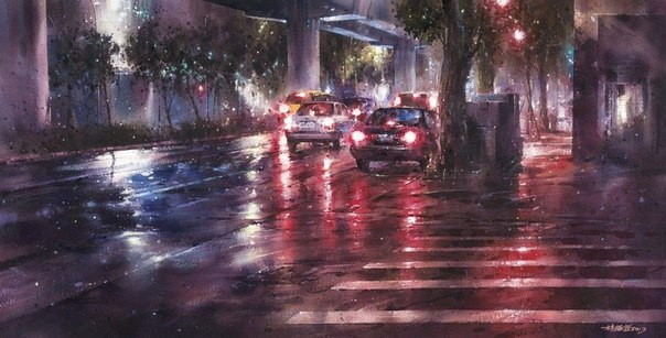 Уличная жизнь в акварелях Lin Ching-Che
