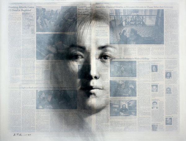 Призрачные портреты на газетах