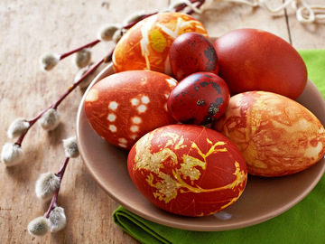 Краска яиц в луковой  шелухе, Как красить яйца в луковой шелухе