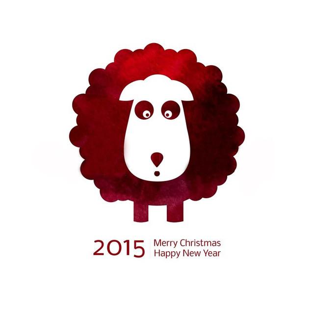 Открытка на Новый год овцы