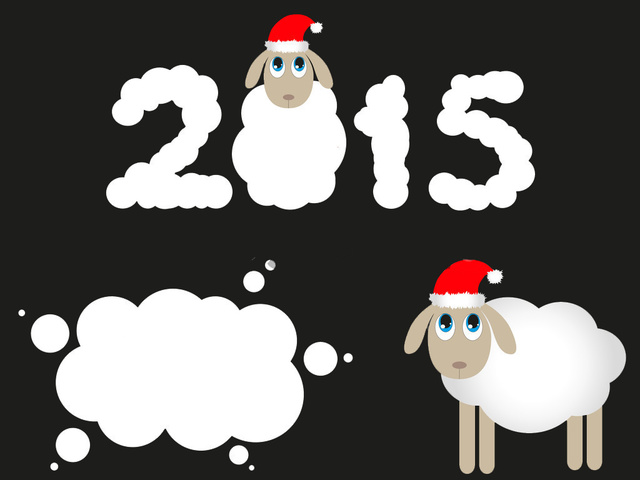 Овечки на Новогодней открытке 2015