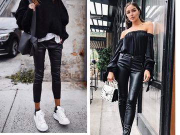 Кожаные брюки осень 2018