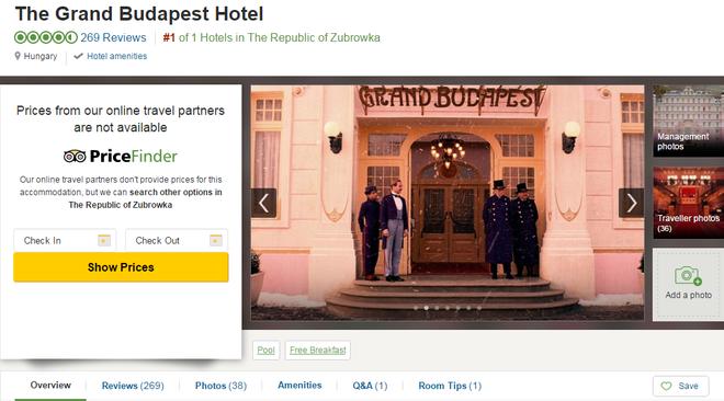 """Готель """"Гранд Будапешт"""" з'явився на TripAdvisor"""