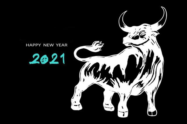 Открытки на Новый год быка 2021