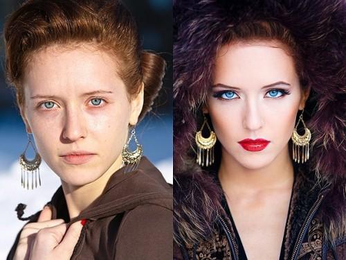 Девушки до и после косметики и фотошопа
