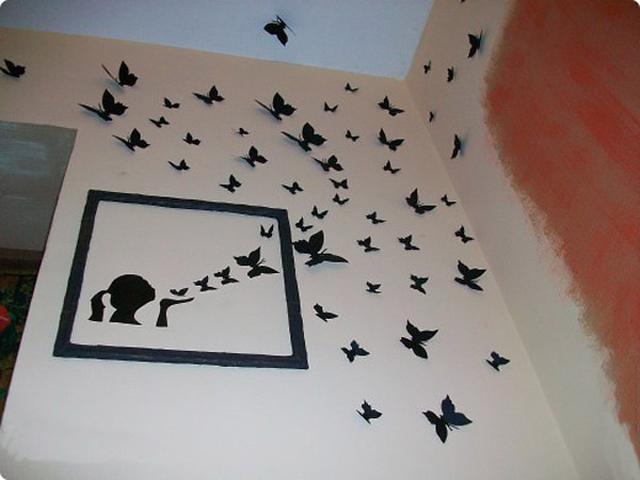 Панно из бабочек на стену