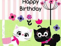 Милые котики на день рождения