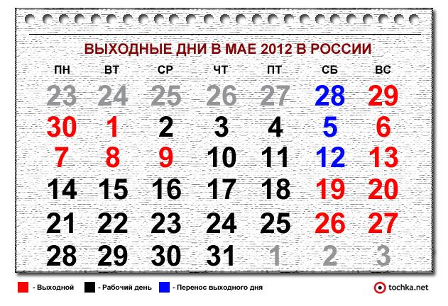 Выходные дни в мае 2012 в россии