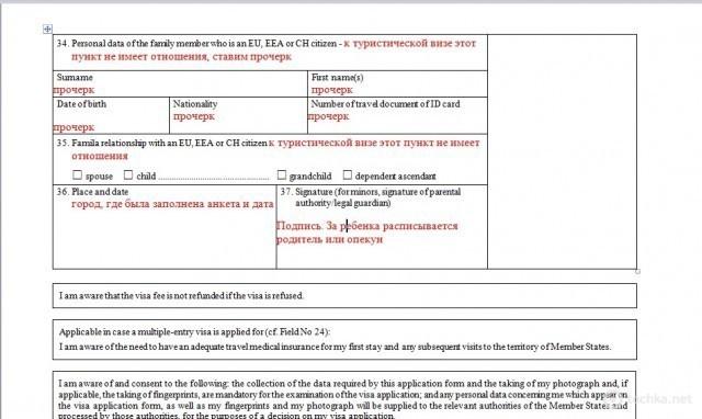 Пример заполнения визовой анкеты
