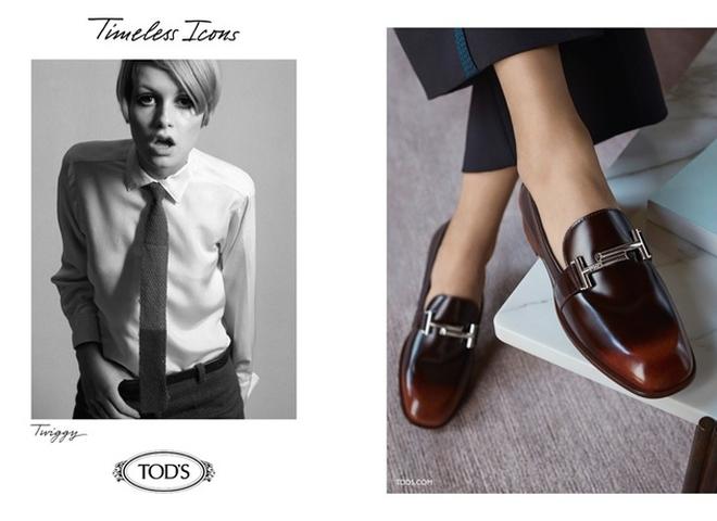 Твигги и Джин Шримптон в рекламе TOD'S