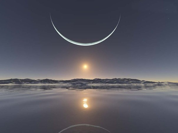 Восход солнца на Северном полюсе